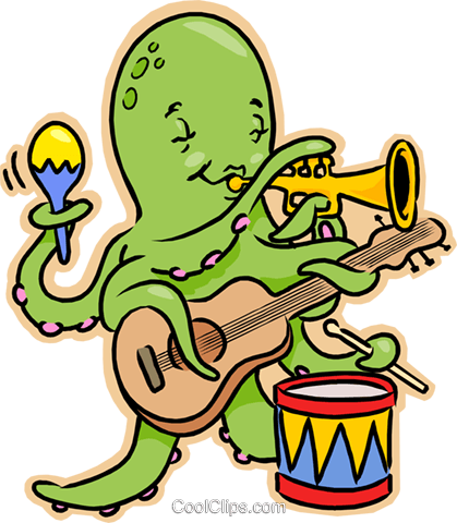 Octopus playing guitar, drums, trumpet Royalty Free Vector Clip Art illustration vc008229