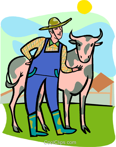 farmer, cow Royalty Free Vector Clip Art illustration vc008239