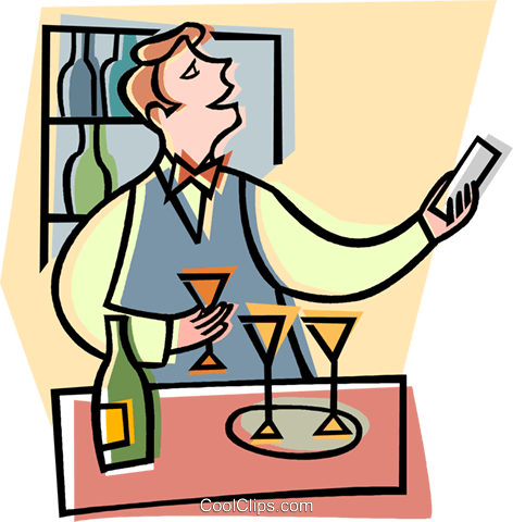 bar, bar tender, drinks Royalty Free Vector Clip Art illustration vc008245