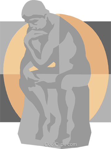 Rodin's thinker Royalty Free Vector Clip Art illustration vc008272
