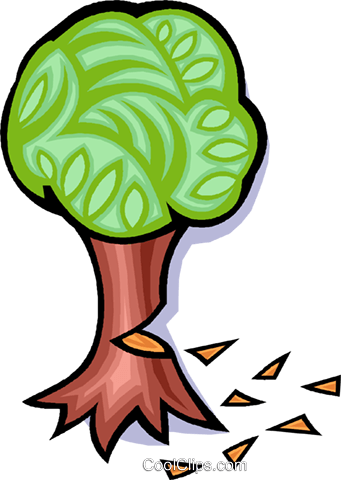 tree, cutting down a tree Royalty Free Vector Clip Art illustration vc008299