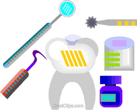 tooth, dentist equipment Royalty Free Vector Clip Art illustration vc008322