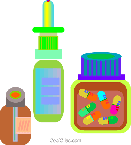 medicine, bottle of pills Royalty Free Vector Clip Art illustration vc008361