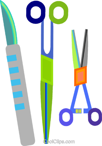 surgical equipment, scissor, scalpel Royalty Free Vector Clip Art illustration vc008381