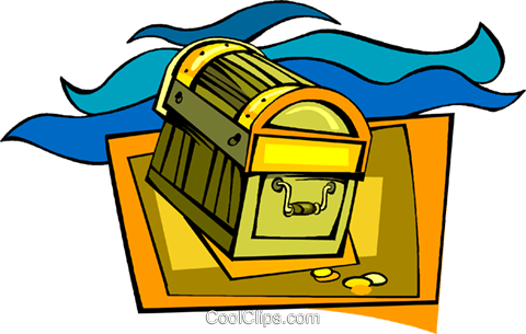 treasure chest, pirates, gold Royalty Free Vector Clip Art illustration vc008443