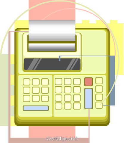 office equipment, adding machine Royalty Free Vector Clip Art illustration vc008496