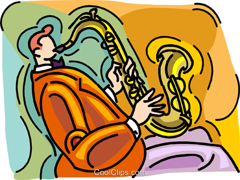 man playing saxophone Royalty Free Vector Clip Art illustration vc008516