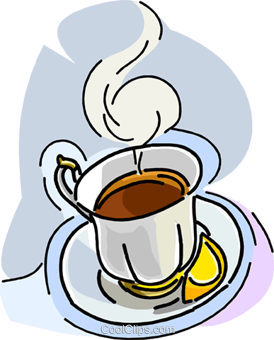 cup of tea with lemon Royalty Free Vector Clip Art illustration vc008527