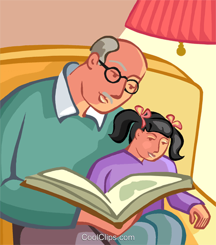 Grandfather reading book to grandchild Royalty Free Vector Clip Art illustration vc008579
