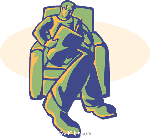 man reading news paper Royalty Free Vector Clip Art illustration vc008580