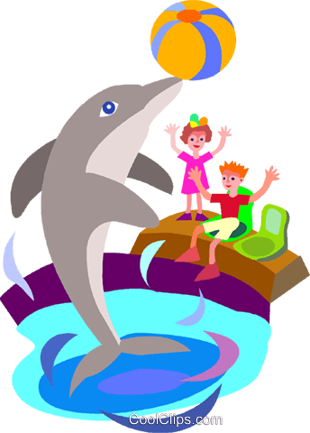 dolphin playing in a pool Royalty Free Vector Clip Art illustration vc008652