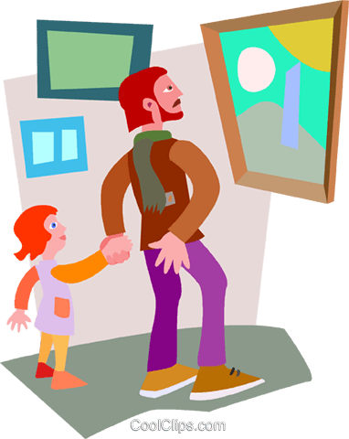 man and child admiring a painting Royalty Free Vector Clip Art illustration vc008653