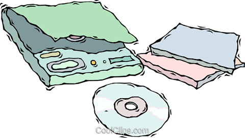 portable CD player with CD Royalty Free Vector Clip Art illustration vc008700