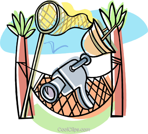 video camera with hammock Royalty Free Vector Clip Art illustration vc008717