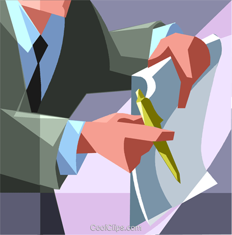 man with a contract Royalty Free Vector Clip Art illustration vc008725