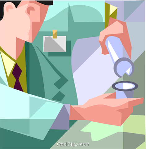 lab technician with a test tube Royalty Free Vector Clip Art illustration vc008727