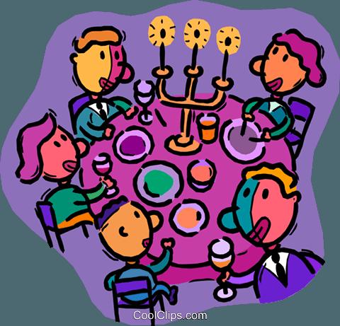 家人吃晚饭 免版税矢量剪贴画插图