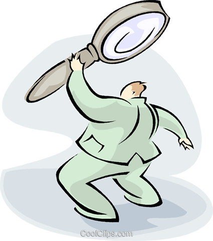 man with large magnifying glass Royalty Free Vector Clip Art illustration vc008793