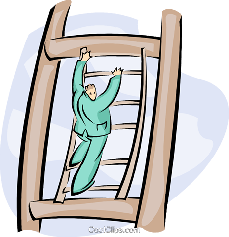 climbing the corporate ladder Royalty Free Vector Clip Art illustration vc008797