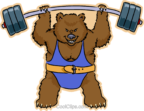 weight lifting bear Royalty Free Vector Clip Art illustration vc008811