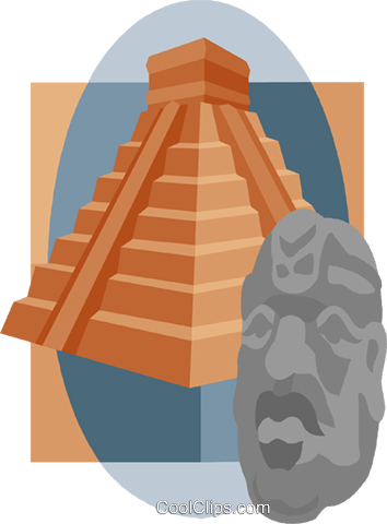Inca Pyramid with Statue Head Royalty Free Vector Clip Art illustration vc008854