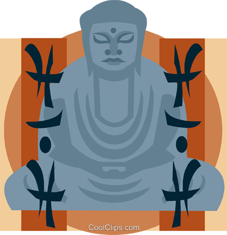 Buddha with inscription Royalty Free Vector Clip Art illustration vc008856