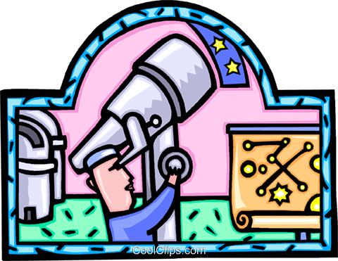 astronomer with a telescope Royalty Free Vector Clip Art illustration vc008868