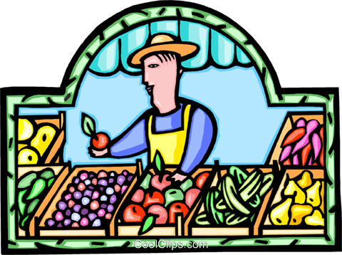 fruit stand with fruit vendor Royalty Free Vector Clip Art illustration vc008876