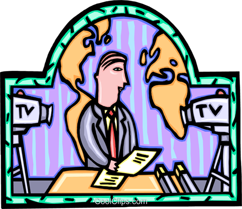TV news reporter Royalty Free Vector Clip Art illustration vc008883