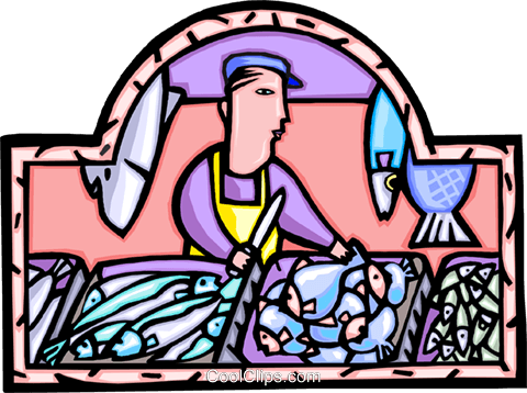 Fish monger with his days' catch Royalty Free Vector Clip Art illustration vc008884