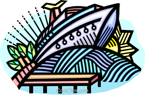 Cruise ship at dock Royalty Free Vector Clip Art illustration vc008887