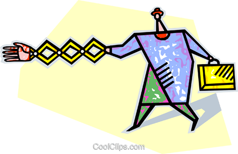extending a mechanical arm handshake Royalty Free Vector Clip Art illustration vc008906