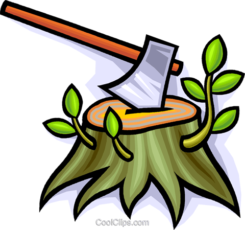 axe with a tree stump Royalty Free Vector Clip Art illustration vc008913