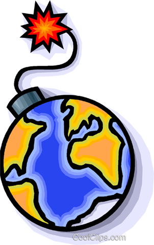 Earth as a bomb about to explode Royalty Free Vector Clip Art illustration vc008928