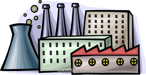 nuclear energy and factories Royalty Free Vector Clip Art illustration vc008939
