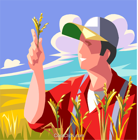 Farmer inspecting his crop Royalty Free Vector Clip Art illustration vc009038
