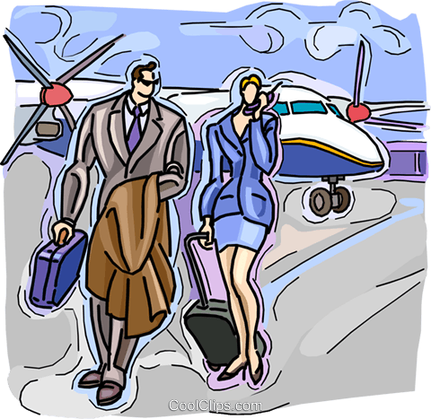 business travelers Royalty Free Vector Clip Art illustration vc009047