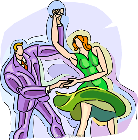 man and woman dancing Royalty Free Vector Clip Art illustration vc009085