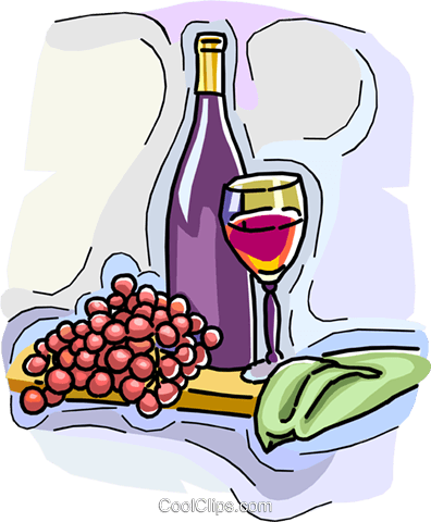 wine bottle with grapes and glass Royalty Free Vector Clip Art illustration vc009086
