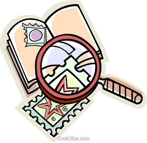 stamp collecting, stamps Royalty Free Vector Clip Art illustration vc009119