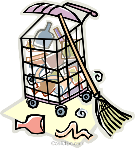 garbage, broom, garbage can Royalty Free Vector Clip Art illustration vc009122