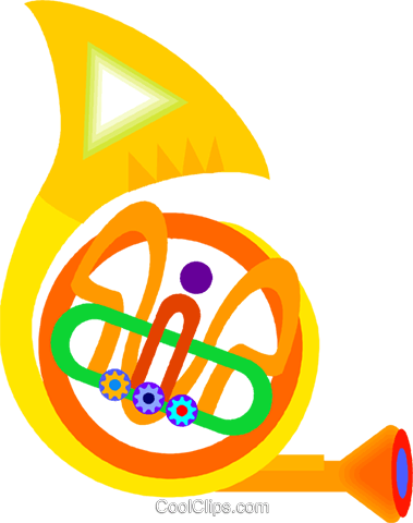 French horn Royalty Free Vector Clip Art illustration vc009159