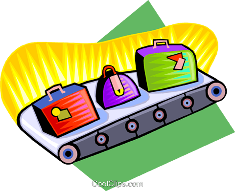conveyor belt with luggage Royalty Free Vector Clip Art illustration vc009232