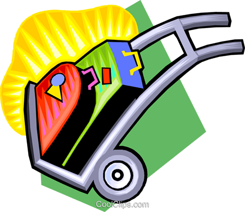 hand dolly with luggage Royalty Free Vector Clip Art illustration vc009242