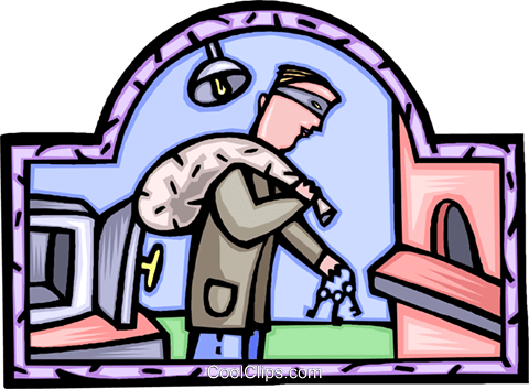 burglar making a heist Royalty Free Vector Clip Art illustration vc009246