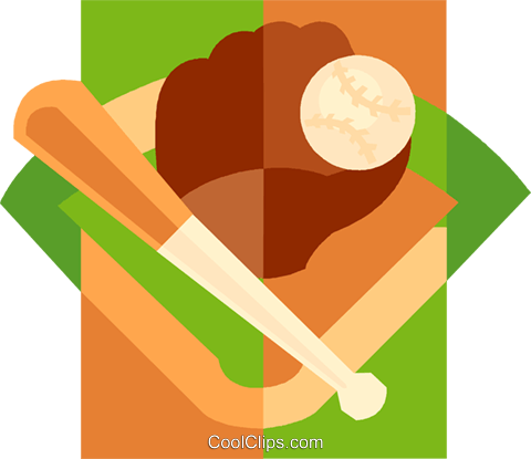 Baseball glove and bat Royalty Free Vector Clip Art illustration vc009389