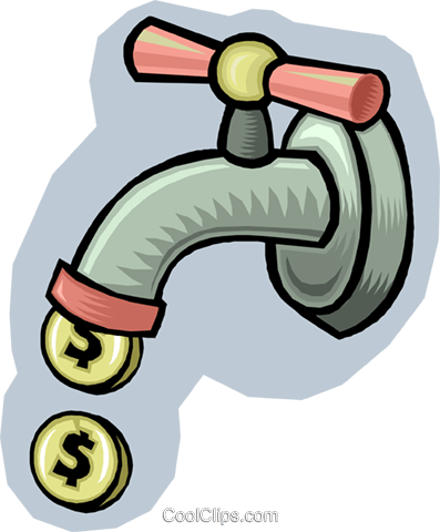 water faucet dripping coins Royalty Free Vector Clip Art illustration vc009408