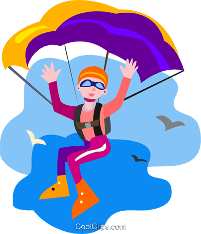 person parachuting Royalty Free Vector Clip Art illustration vc009469