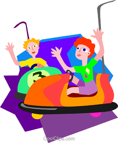 children on the bumper cars Royalty Free Vector Clip Art illustration vc009471