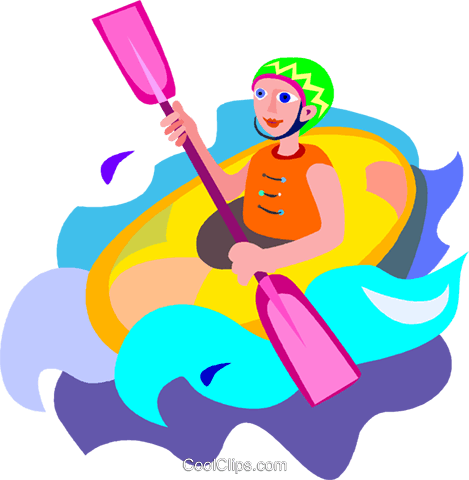 White Water Rafting Royalty Free Vector Clip Art Illustration